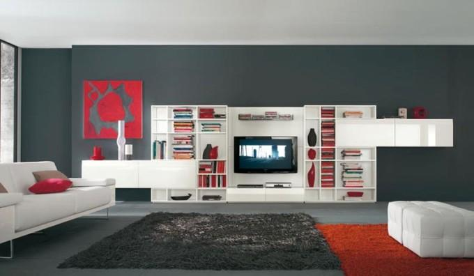 Современная большая стенка под телевизор чисто белая