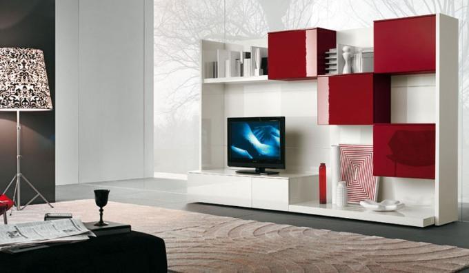 Современные стенки под телевизор белая с красным