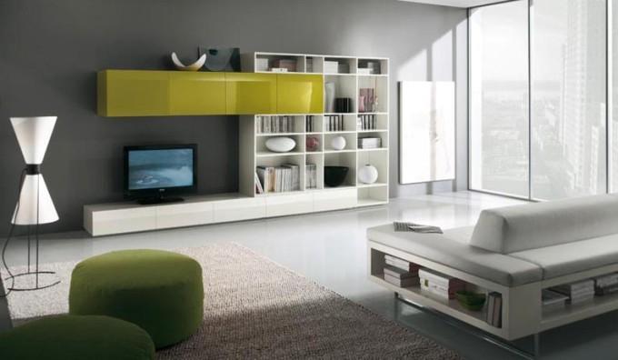 Современные стенки под телевизор белая с желтым