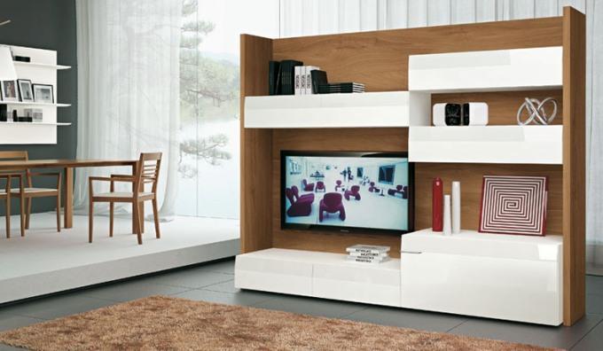 Современные стенки под телевизор белая отдельно стоящая