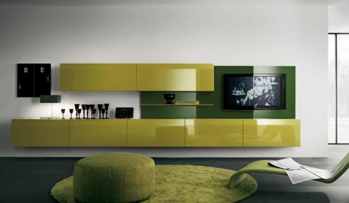 Современные стенки под телевизор желтая с зеленым