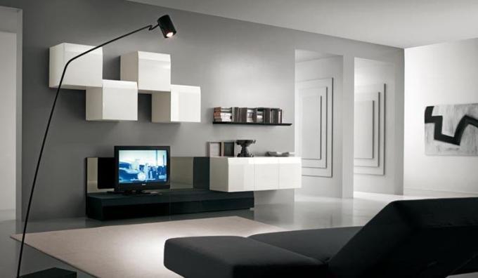 Современные стенки под телевизор с навесными белыми шкафчиками
