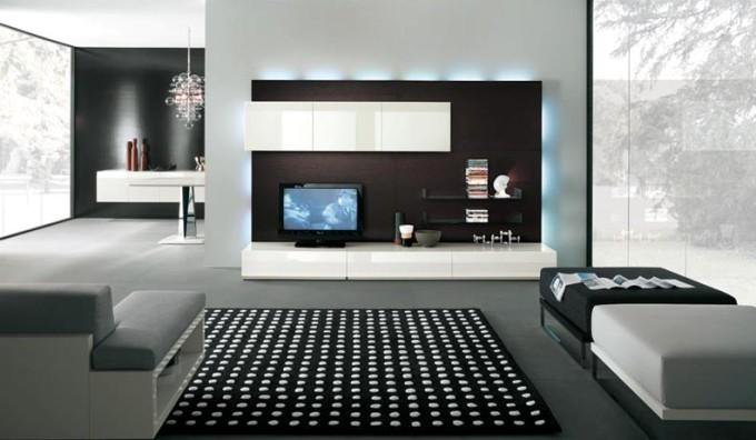 Современные стенки под телевизор с подсветкой всей стенки
