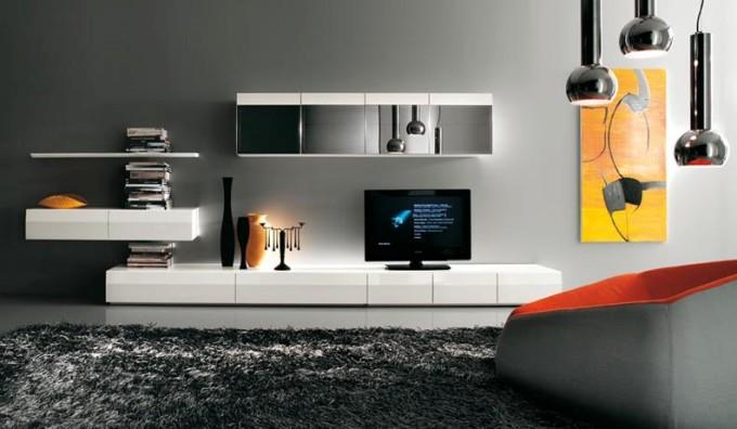 Современные стенки под телевизор. 20 фото