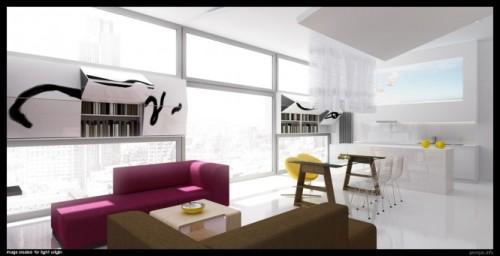 Стильный и современный интерьер комнаты на чердаке