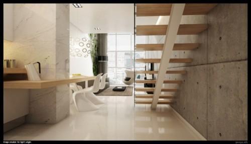 Стильный и современный интерьер лестницы