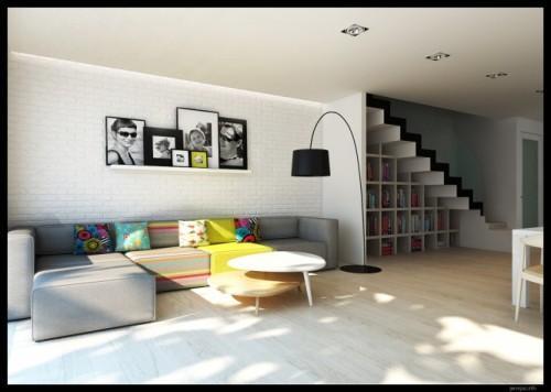 Стильный и современный интерьер гостиной с лестницей