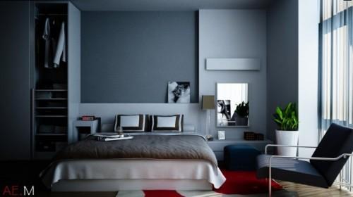 Универсальный дизайн от Хьеу Нгуен. Спальня в синих тонах