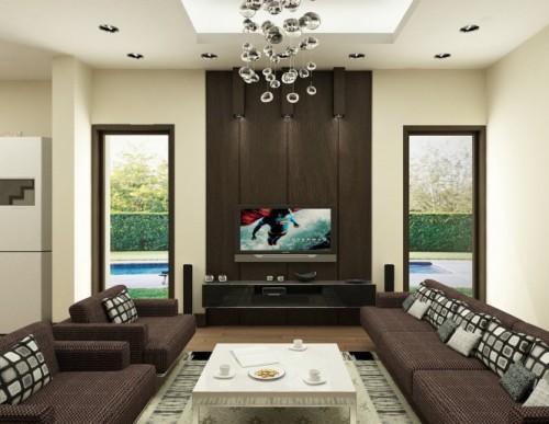 Универсальный дизайн от Хьеу Нгуен. Гостиная с коричневым диваном