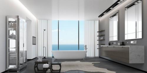 Ванная комната в пентхаусе с видом на море
