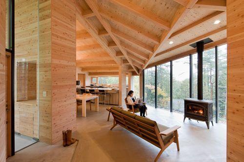 Деревянный дом без потолка