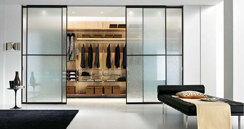 гардероб за стеклянной дверью