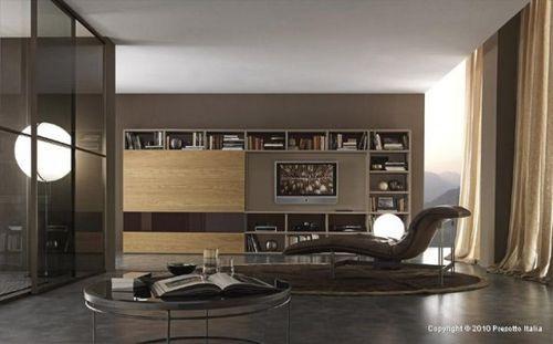 Коричневый дизайн гостиной