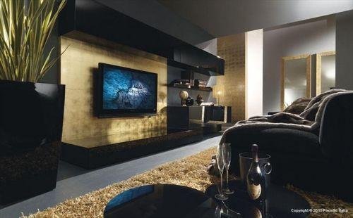 Золотой и черный цвет в дизайне гостиной