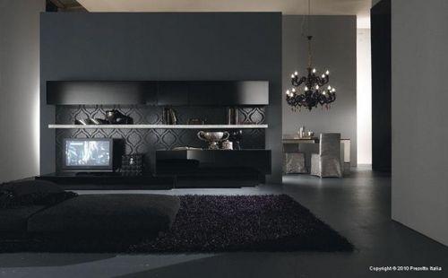 Черный интерьер гостиной