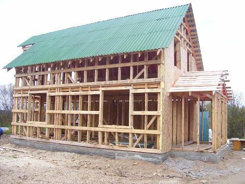 Каркасный дом с крышей