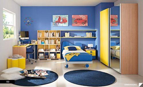 синий интерьер детской комнаты