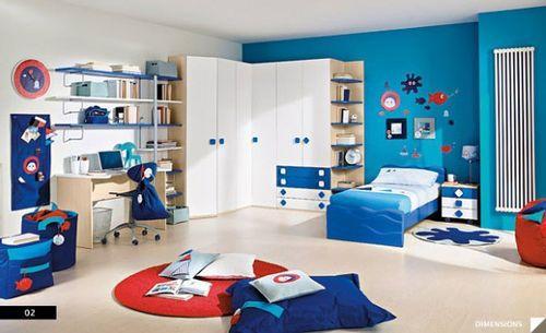 синие цвета в детской комнате