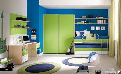 зеленый шкаф в детской комнате