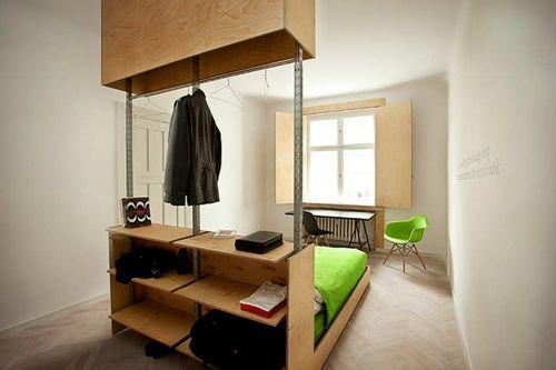 Совмещенная мебель в стальной - кровать и шкафчик