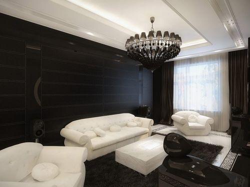 Темный интерьер и белая мебель в гостиной