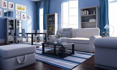 Бело-голубая гостиная