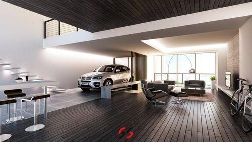Необычная гостиная совмещенная с гаражом