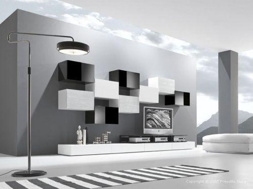Черно-белая современная гостиная