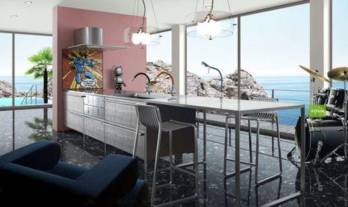 Кухня с картиной из мультика