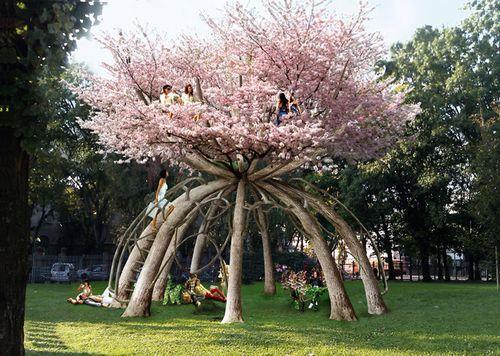 Проект беседки с деревьев