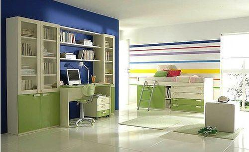 Зеленый и синий цвет в интерьере детской комнаты