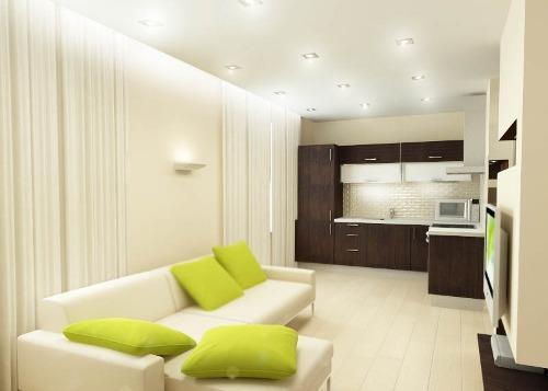 Зонирование кухни и гостиной