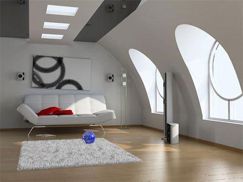 Дизайн светлого интерьера мансарды
