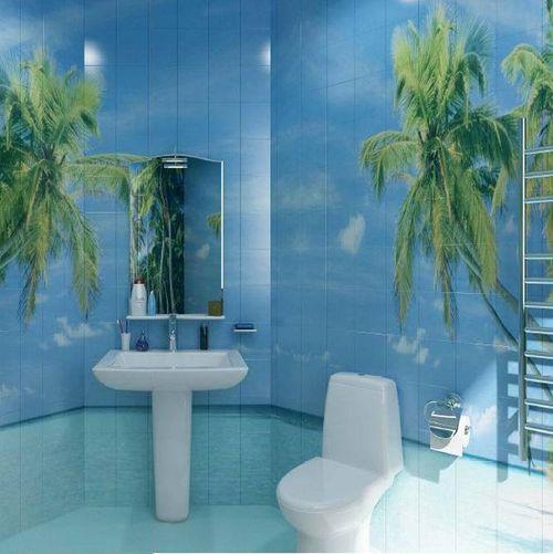 Керамическая фотоплитка в туалете