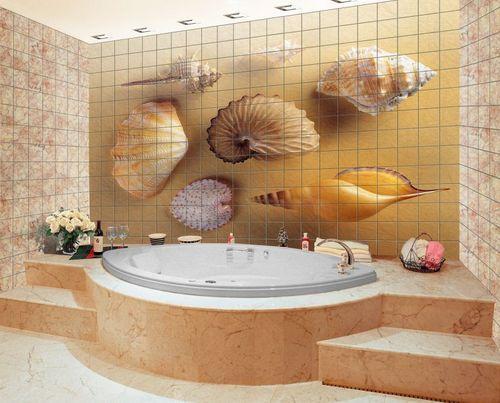 Керамическая фотоплитка на стене в ванной