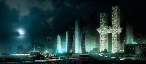 Ночной вид на небоскреб