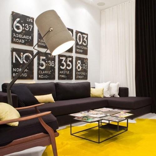 Желтые элементы в дизайне интерьера квартиры