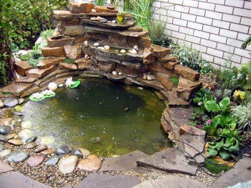 водоем на участке возле кирпичного дома