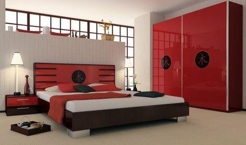 Китайский интерьер красной спальни
