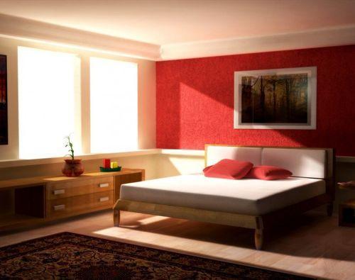 Красная стена вспальне