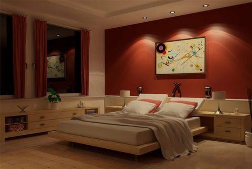 Спальня с красной стеной и подсветкой