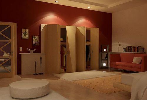 Спальня с красной стеной возле шкафа