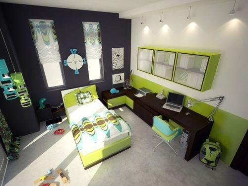 Зеленые элементы в интерьере спальни