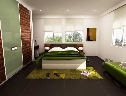 Спальня с зеленым цветом