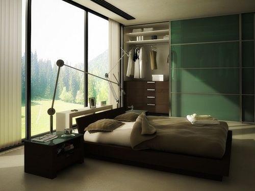 Спальня с зеленым шкафом