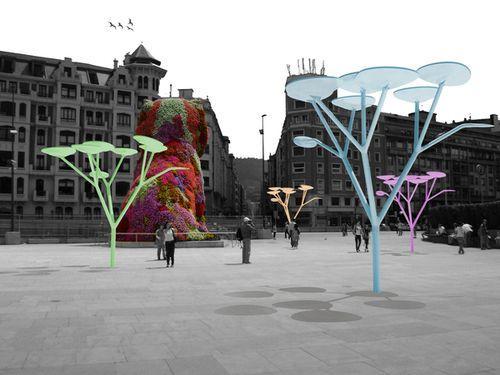 Светодиодные уличные деревья-светильники на солнечных батареях