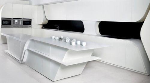 Футуристический дизайн белой кухни