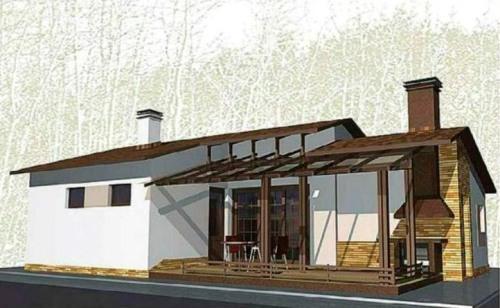Проект гостевого дома с барбекю