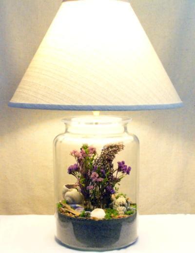 Светильник своими руками с банки и сухоцветов