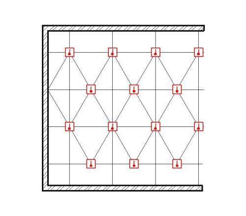 Схема треугольного расположения датчиков